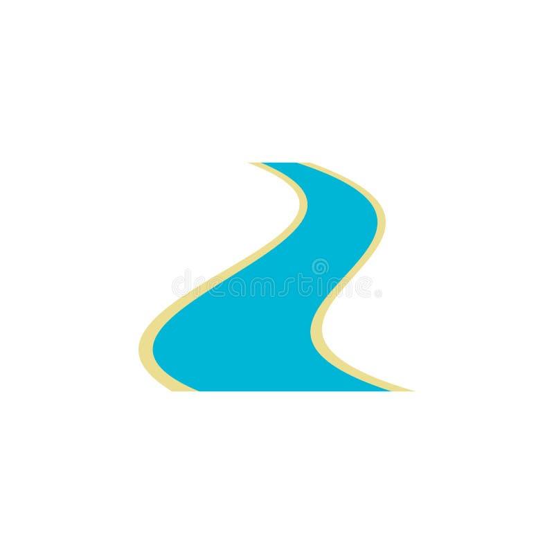 Icono plano del río ilustración del vector