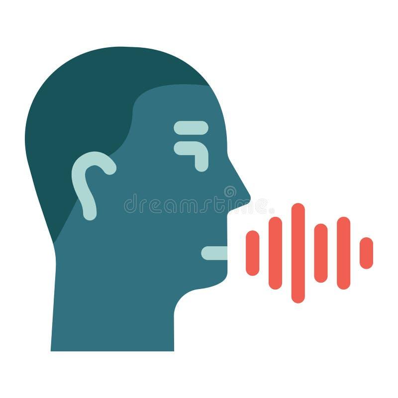 Icono plano del reconocimiento de voz, control de la voz ilustración del vector