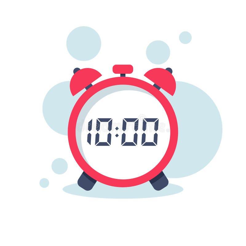 Icono plano del reloj Reloj de Digitaces Dise?o de la historieta del ejemplo del vector ilustración del vector