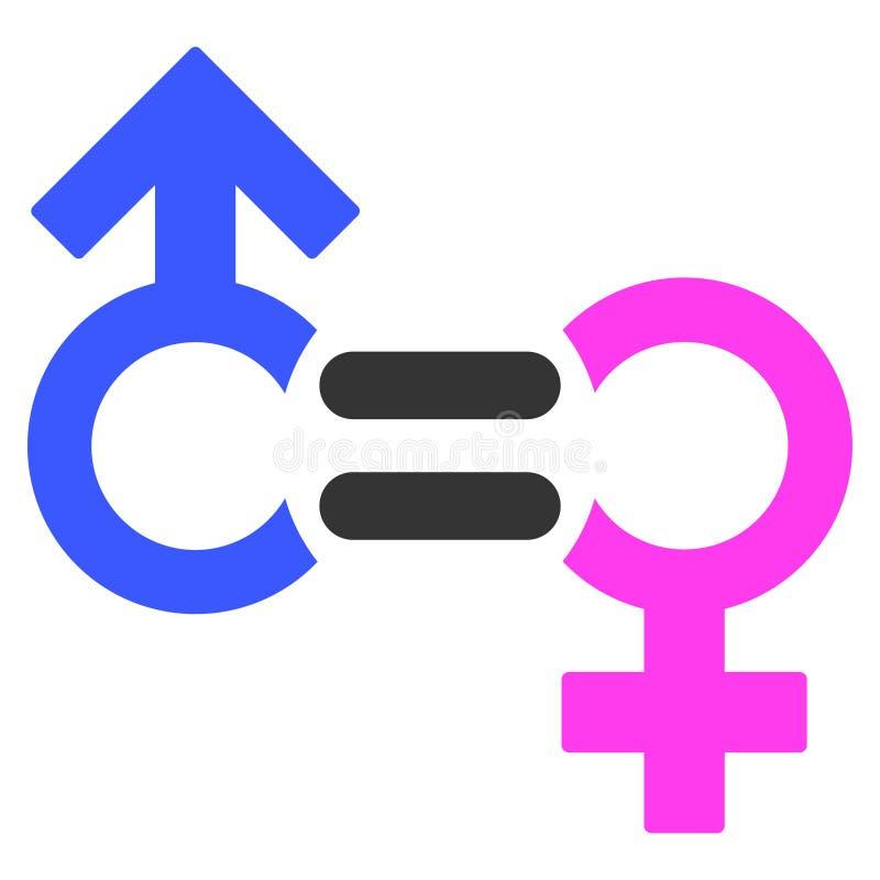 Icono plano del símbolo de la relación de géneros ilustración del vector