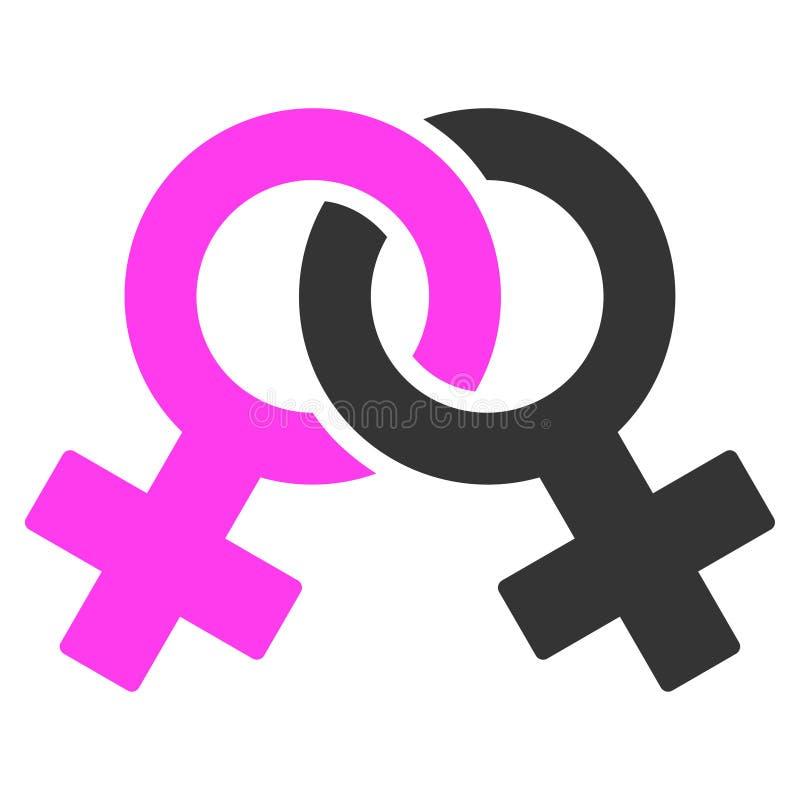 Icono plano del símbolo lesbiano stock de ilustración
