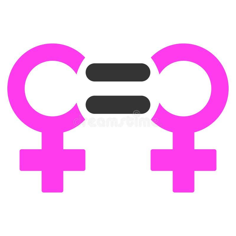 Icono plano del símbolo lesbiano de la relación stock de ilustración