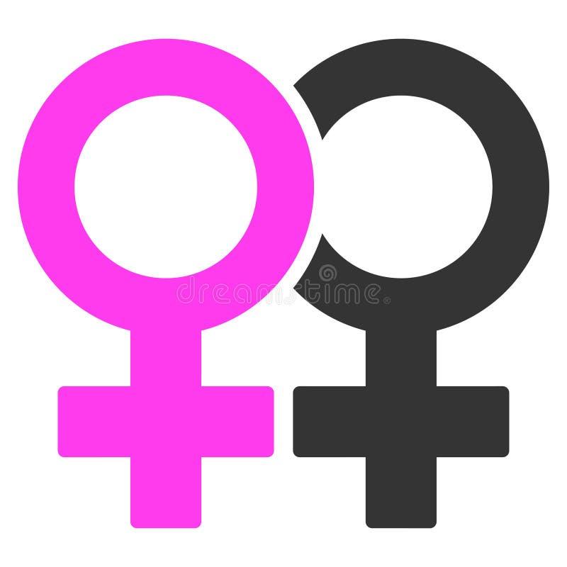 Icono plano del símbolo lesbiano de los pares stock de ilustración