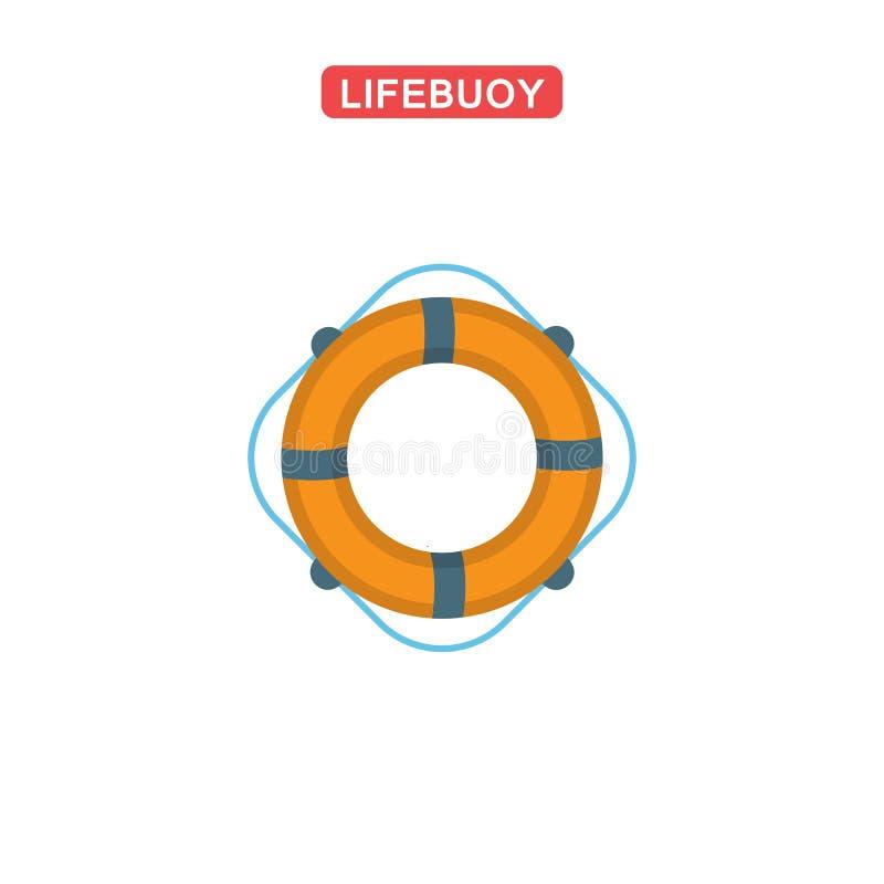 Icono plano del salvavidas stock de ilustración