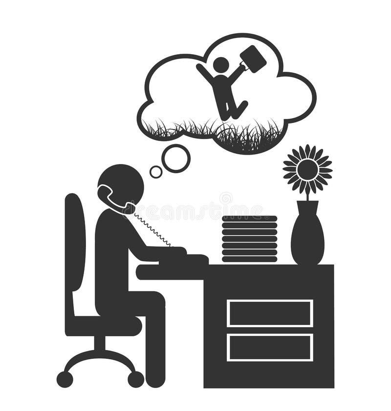 Icono plano del sueño de la primavera de la oficina aislado en blanco ilustración del vector
