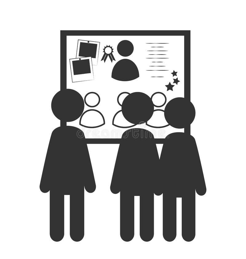 Icono plano del tablero del honor de la oficina aislado en blanco stock de ilustración