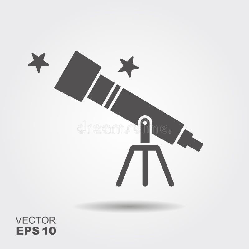 Icono plano del telescopio, ilustración del vector