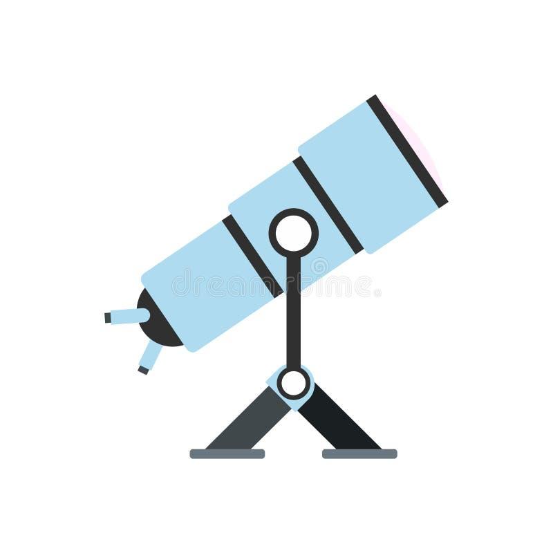 Icono plano del telescopio ilustración del vector