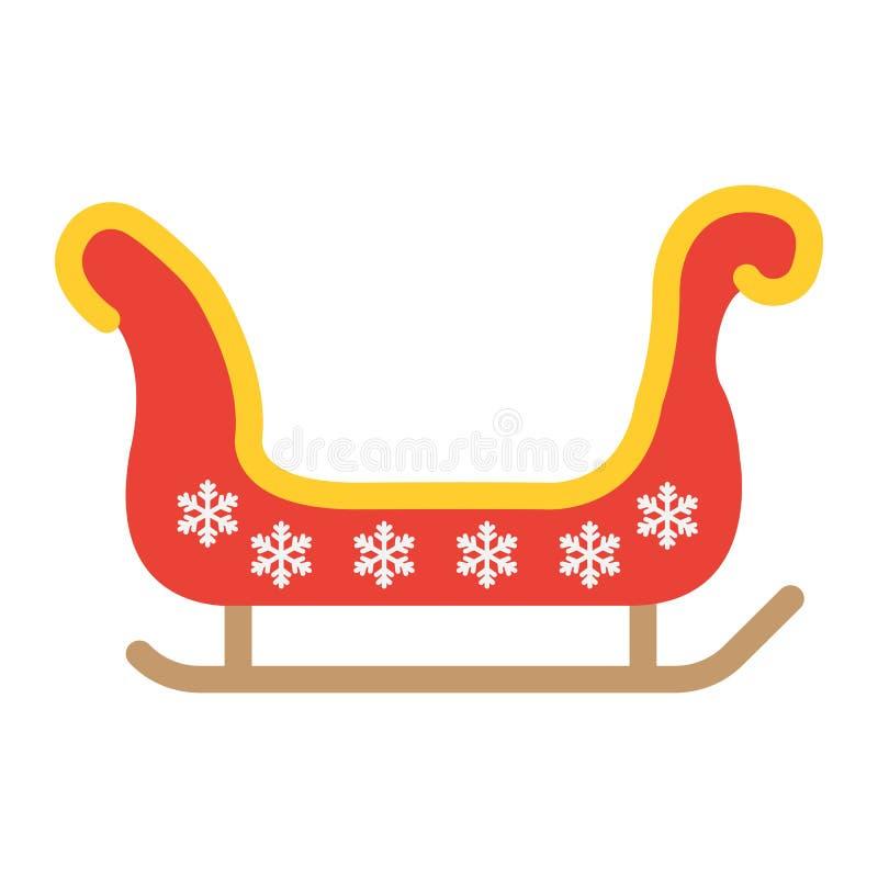 Icono plano del trineo de Papá Noel, Año Nuevo y la Navidad ilustración del vector