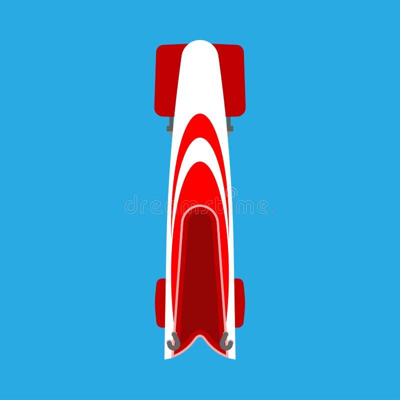 Icono plano del trineo del trineo o del trineo del vector rojo de la opinión superior Competencia esquelética del equipo de la ra stock de ilustración
