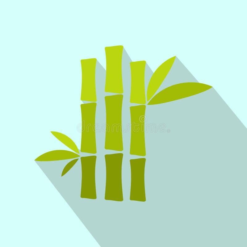 Icono plano del tronco de bambú verde stock de ilustración