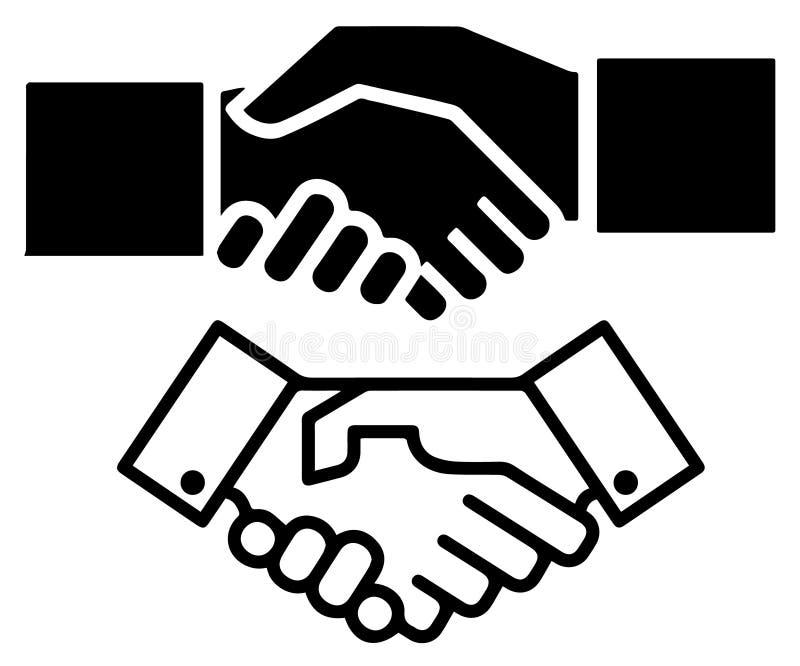 Icono plano del vector del acuerdo del apretón de manos o de contrato ilustración del vector