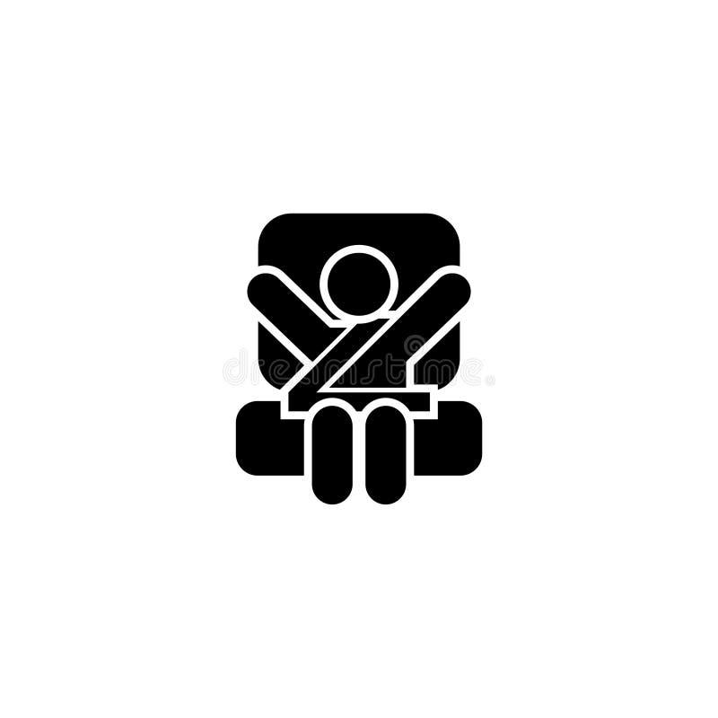 Icono plano del vector del asiento de carro del bebé stock de ilustración