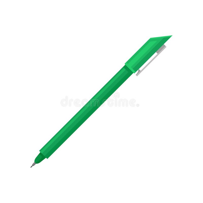 Icono plano del vector del bolígrafo verde claro con extremidad fina y el casquillo Instrumento para escribir y dibujar Herramien ilustración del vector
