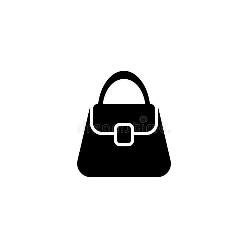 Icono plano del vector del bolso de la mujer ilustración del vector