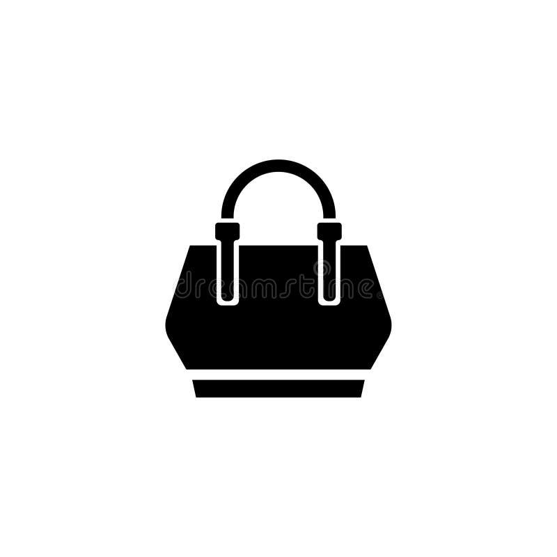 Icono plano del vector del bolso de las mujeres stock de ilustración