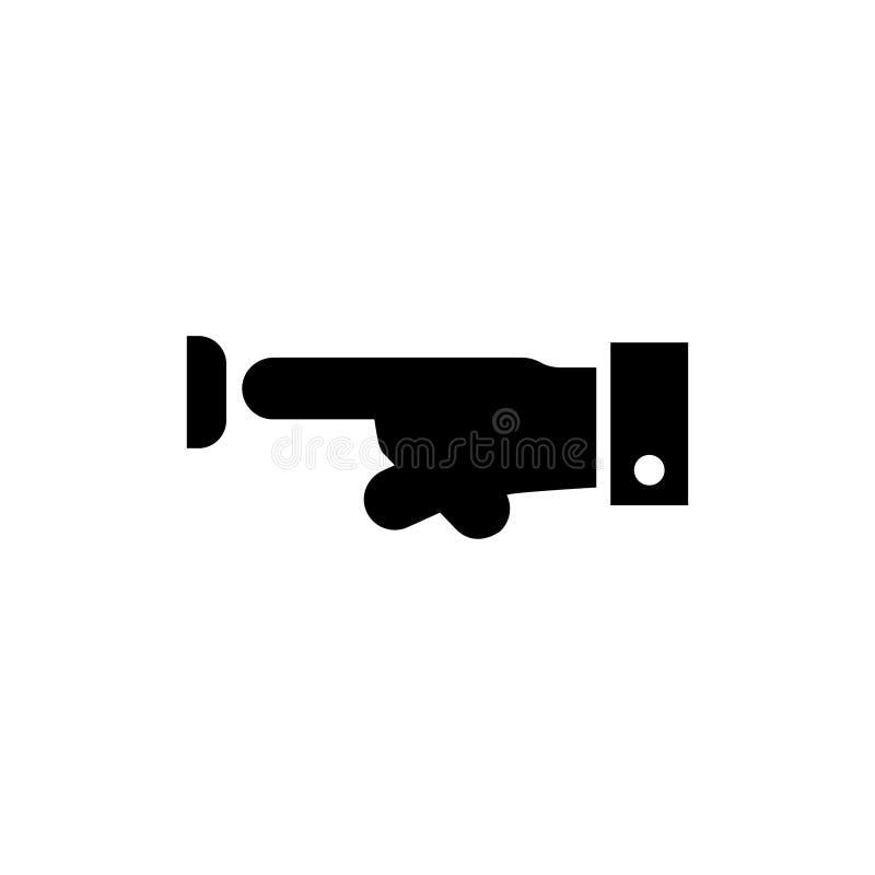 Icono plano del vector del botón del presionado a mano stock de ilustración