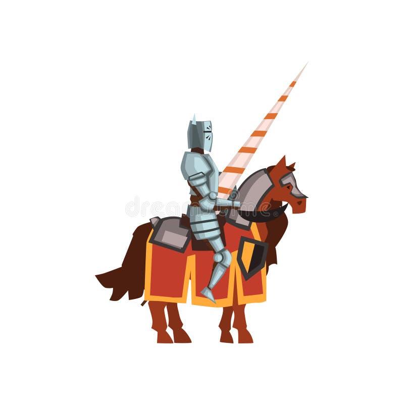 Icono plano del vector del caballero de las Edades Medias que se sientan a caballo con la lanza a disposición Personaje de dibujo stock de ilustración