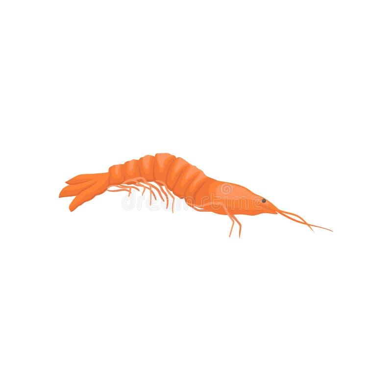 Icono plano del vector del camarón rojo Criatura marina Tema de los mariscos Elemento para el producto que empaqueta, haciendo pu libre illustration