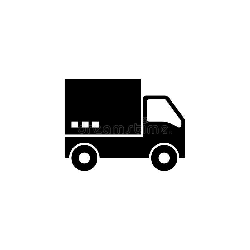 Icono plano del vector del camión de reparto rápido del envío stock de ilustración