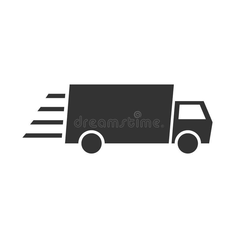 Icono plano del vector del camión de reparto rápido del envío Para su diseño del sitio web, logotipo, app, UI Ilustración ilustración del vector