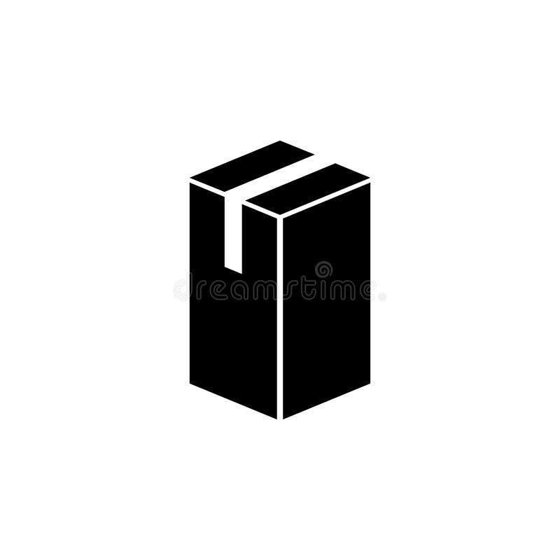 Icono plano del vector del cartón de la caja larga del paquete ilustración del vector