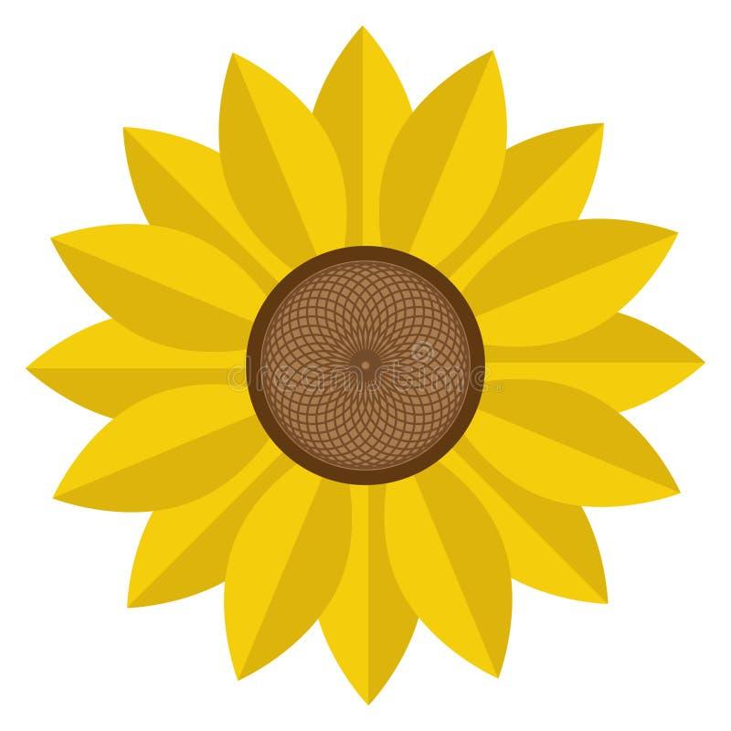Icono plano del vector del color del flor del Helianthus o del girasol para los apps y las páginas web de la flor ilustración del vector