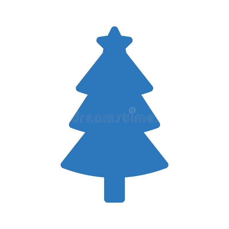 Icono plano del vector del color del glyph del árbol de Navidad stock de ilustración