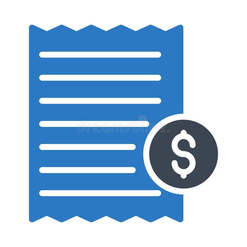 Icono plano del vector del color del glyph de la factura stock de ilustración