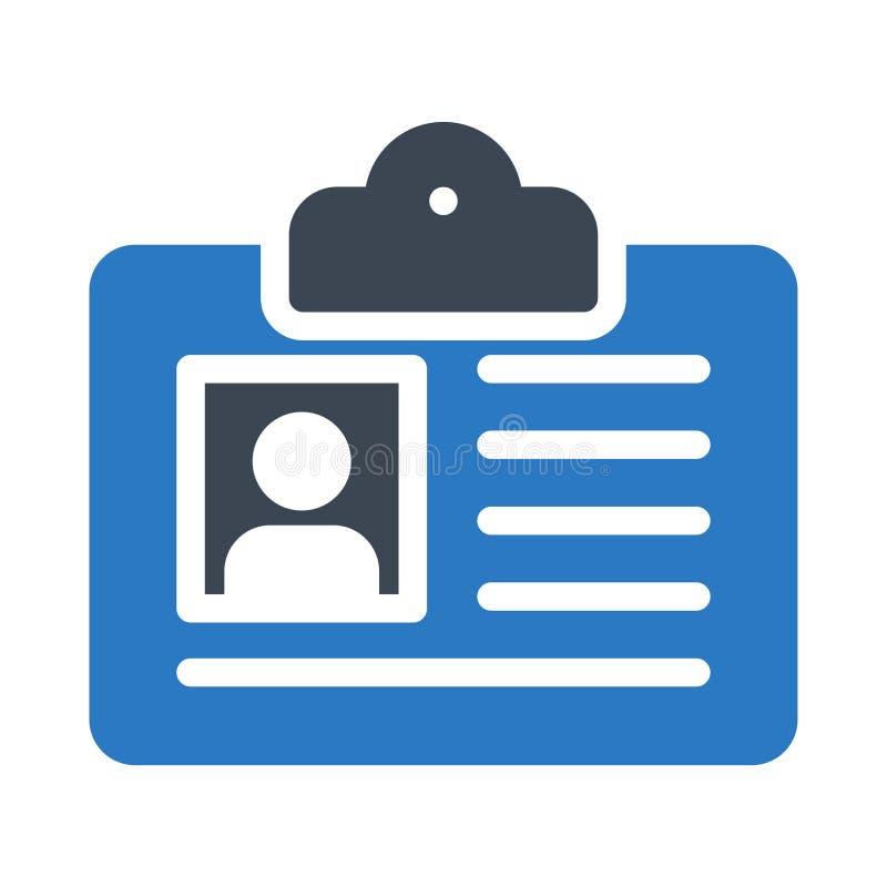 Icono plano del vector del color del glyph de la tarjeta de la identificación stock de ilustración