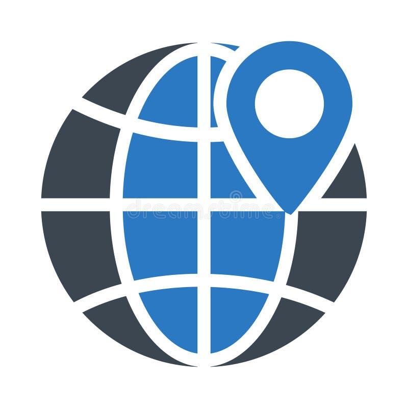 Icono plano del vector del color del glyph de la ubicación stock de ilustración