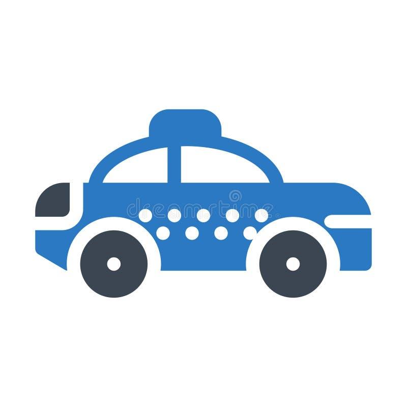 Icono plano del vector del color del glyph del taxi ilustración del vector