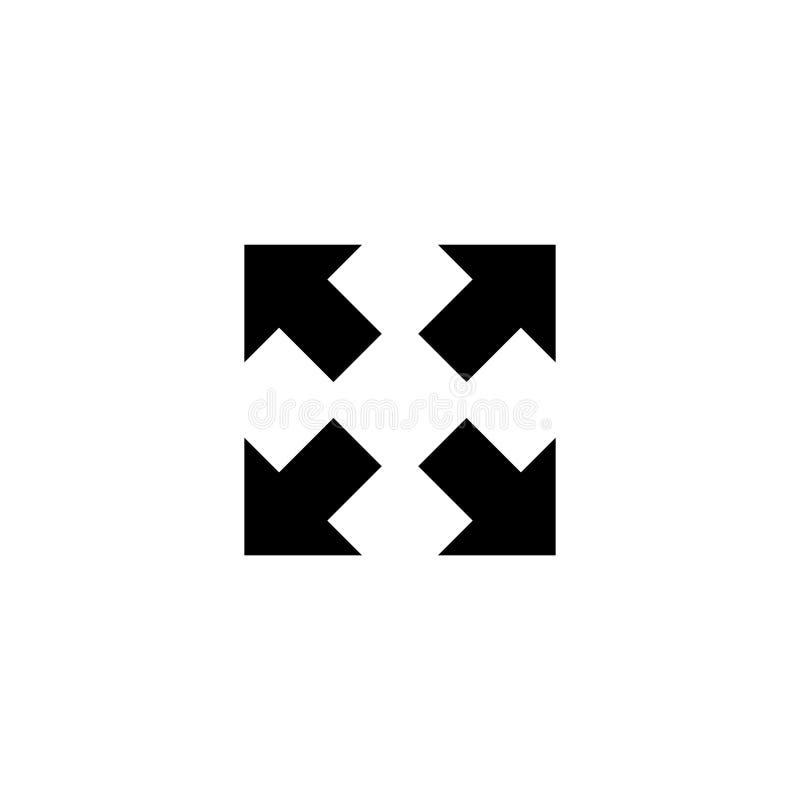 Icono plano del vector de cuatro flechas stock de ilustración