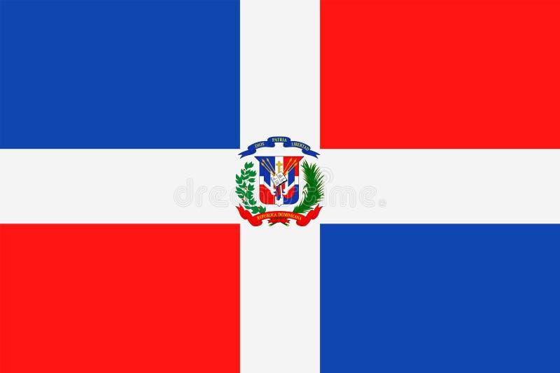 Icono plano del vector de la bandera de la República Dominicana ilustración del vector