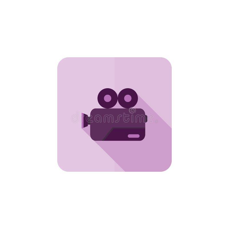 Icono plano del vector de la cámara de película aislado en el fondo blanco para el diseño gráfico, logotipo, sitio web, medio soc stock de ilustración