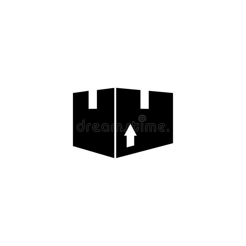 Icono plano del vector de la caja del paquete del cartón libre illustration