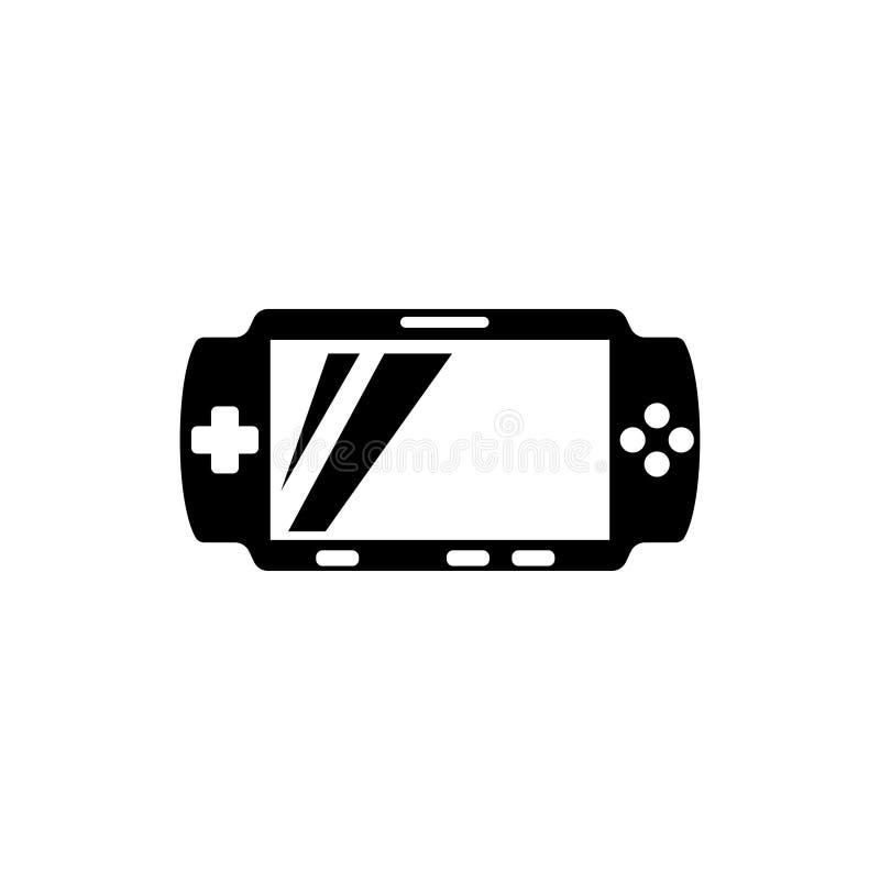 Icono plano del vector de la consola portátil del videojuego stock de ilustración