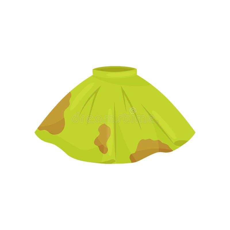 Icono plano del vector de la falda verde con las manchas marrones Ropa sucia para lavarse Ropa femenina Tema del lavadero libre illustration