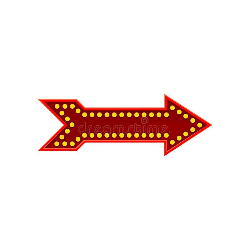Icono plano del vector de la flecha roja brillante Señal de dirección con las lámparas amarillas de los diodos Elemento para el j libre illustration