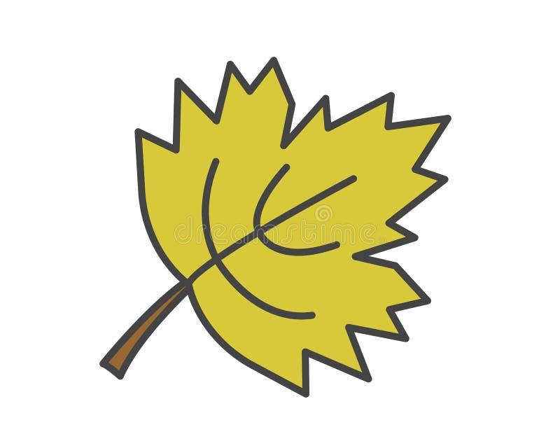 Icono plano del vector de la hoja verde del arce stock de ilustración