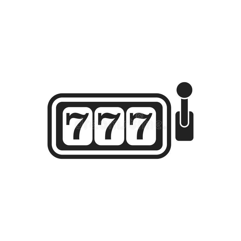 Icono plano del vector de la máquina tragaperras del casino ejemplo p del bote 777 stock de ilustración