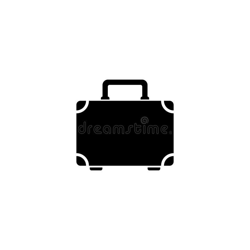 Icono plano del vector de la maleta del equipaje stock de ilustración