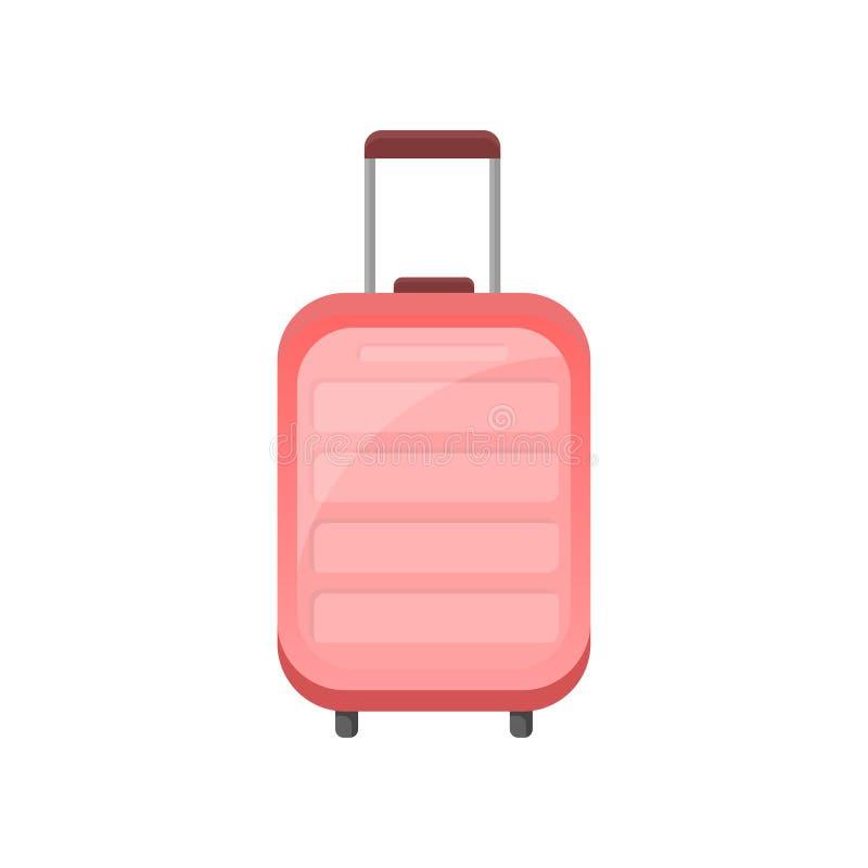 Icono plano del vector de la maleta plástica rosada en las ruedas Bolso del viajero con la manija telescópica Objeto relacionado  stock de ilustración