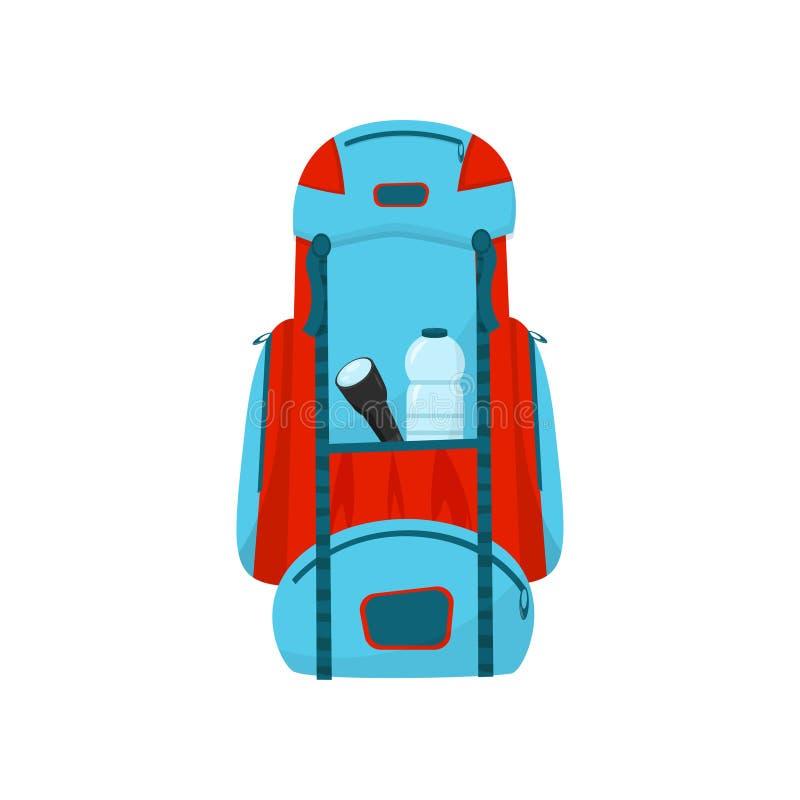 Icono plano del vector de la mochila azul-roja grande Bolso turístico con la linterna y la botella de agua en bolsillo ilustración del vector