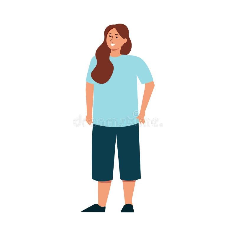 Icono plano del vector de la mujer positiva del tamaño extra grande del cuerpo aislado en el fondo blanco libre illustration