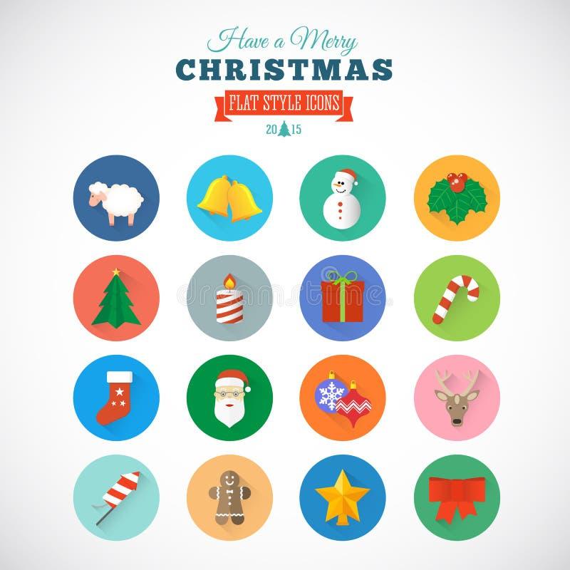 Icono plano del vector de la Navidad del estilo fijado con la caja de regalo stock de ilustración