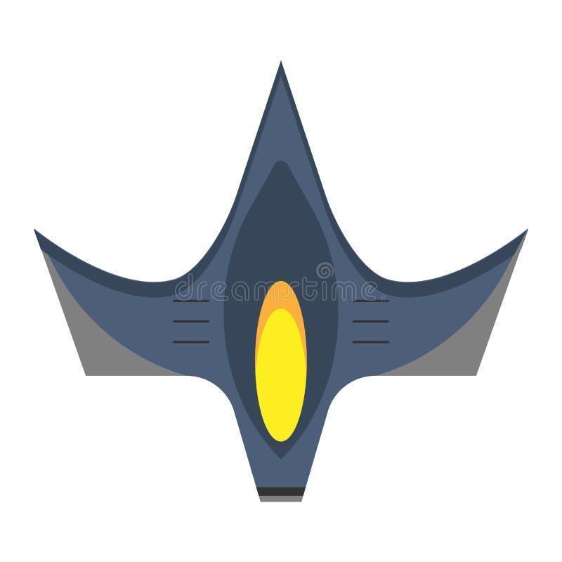 Icono plano del vector de la opini?n superior del combatiente del espacio Avi?n aeroespacial de la tecnolog?a del combate del tra libre illustration
