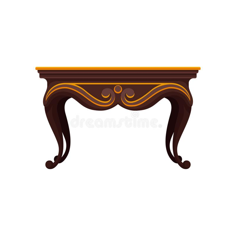 Icono plano del vector de la tabla de madera antigua para el comedor Artículo decorativo de lujo para el interior Muebles caseros stock de ilustración