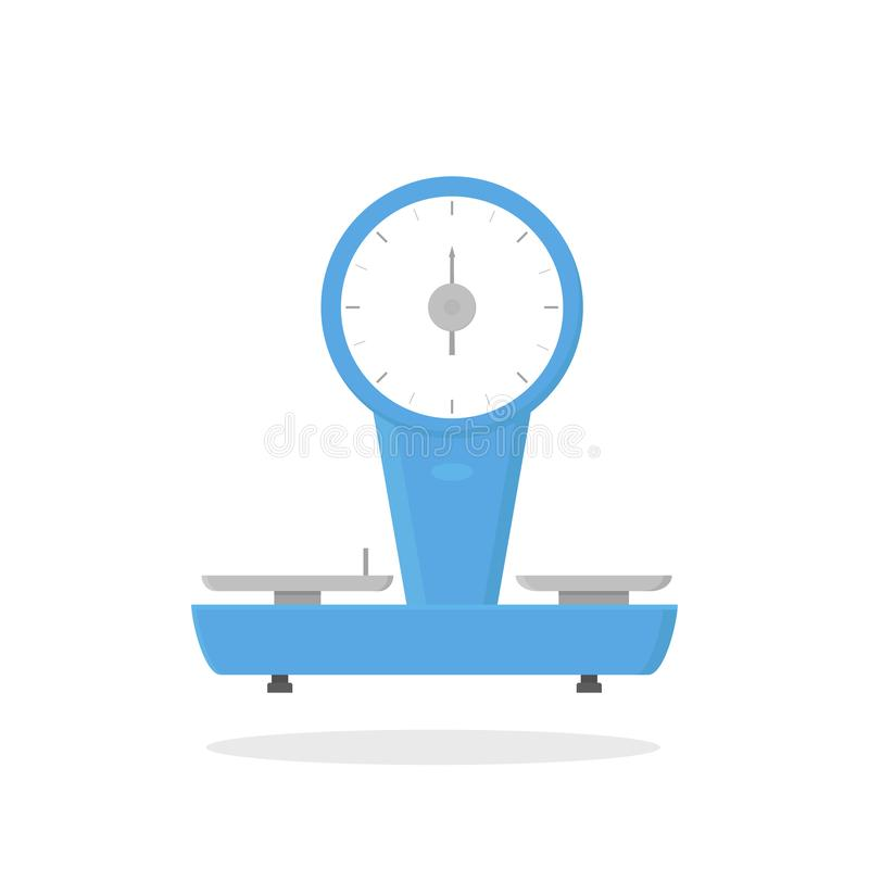 Icono plano del vector de las escalas mecánicas de la tienda Dispositivo para la medida de los productos del ultramarinos Objeto  libre illustration