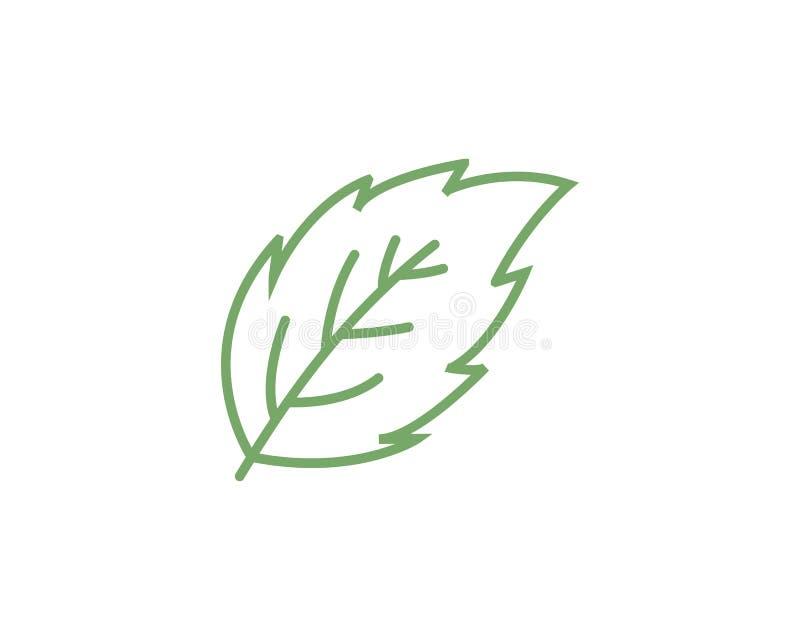 Icono plano del vector de las hojas de menta ilustración del vector